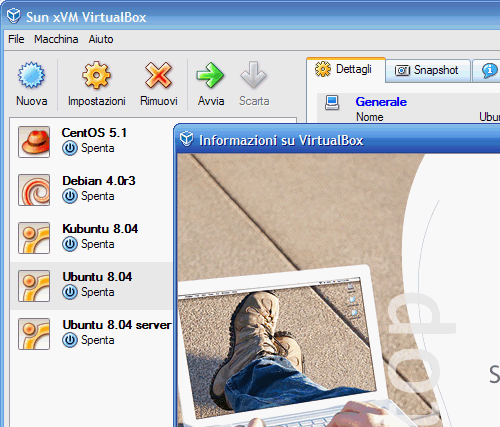 Fig. 1 - macchine virtuali in VirtualBox 1.6.2
