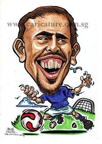 Caricature of Franck Ribery colour watermark