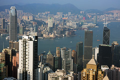 Hong Kong from the Peak Tower (Pawel Boguslawski) Tags: ocean china city hk skyscraper canon landscape hongkong bay view 40d