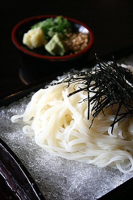 Inaniwa udon, served on a bed of shaved ice