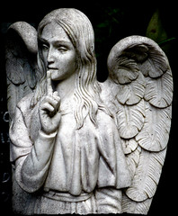 Hush (Cul 9) Tags: london cemetery graveyard statue angel eastside highgatecemetery blackwhitephotos