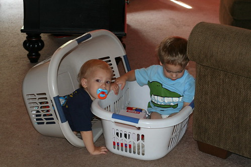 Playing in the Laundry Baskets