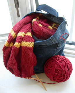 Gryffindor Scarf WIP in S.P.E.W Tote (rec. in HP swap)
