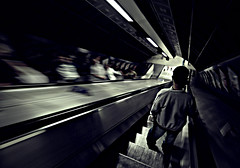 Am here! (Abdullateef Al Marzouqi) Tags: uk travel england bw london underground subway metro escalator streetphotography trains transportation laati