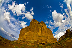 Monumental (Michael Zahra) Tags: sky orange usa sunlight monument rock stone clouds america utah fisheye moab archesnationalpark 10mm anawesomeshot theunforgettablepictures mg3857ps001