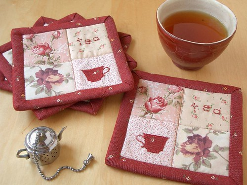 Shabby Chic Rose coasters by PatchworkPottery.