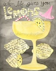 lemons (Lori McDonough) Tags: yellow collage illustration watercolor words drink gray beverage straw lemonade lemons type positive etsy disappointment pinkumbrella lorimcdonough