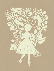 Rain Girl :) (papercut) (Elsita (Elsa Mora)) Tags: show original bird art nature girl yellow vintage paper one design three miniature gallery hand looking handmade cut lace decorative knife craft off kind tiny etsy teeny elsa papercut graces detailed mora elsita