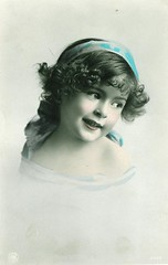 Girl with blue ribbon (Lady Adina) Tags: girl beauty vintage postcard colorized vintagepostcard npg edwardian handtinted