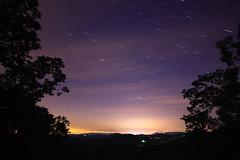 Perseids Meteor Shower 2008 (fpsurgeon) Tags: nightphotography sky night canon glow purple northcarolina astrophotography startrails sigma1020mm meteorshower perseids swifttuttle rebelxsi