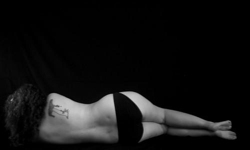 portrait bw woman tree tattoo back bra pregnant blackground portraitset