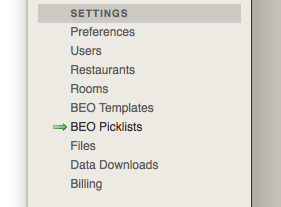 BEO Picklist Section