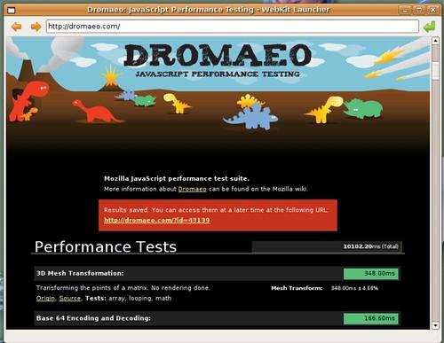 10102 ms pour Webkit sur Dromaeo