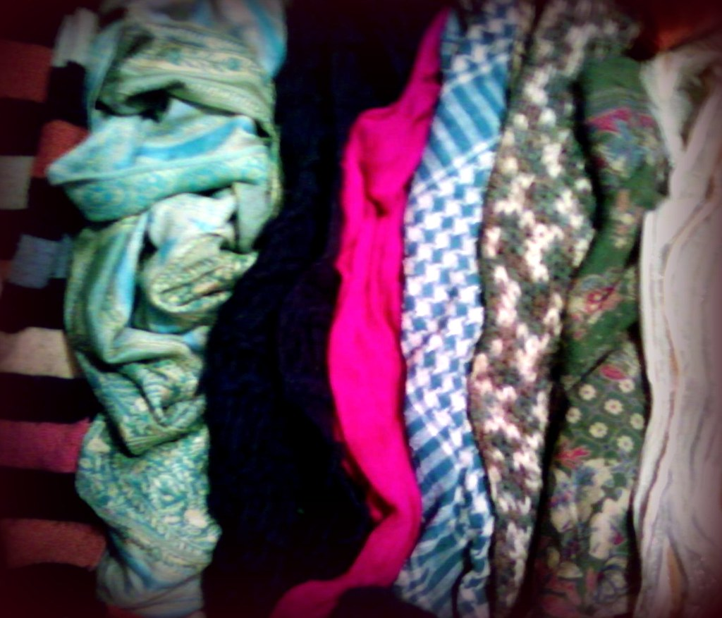 I'm taking eight scarves with me on tour.