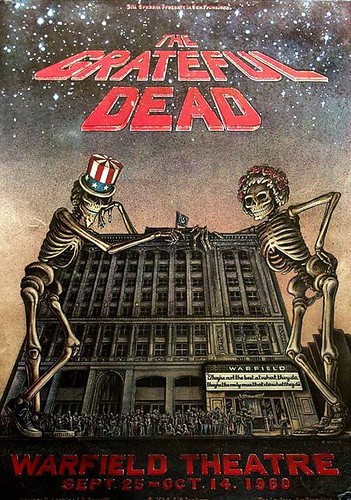 Grateful Dead poster for the Warfield Theatre, Sept 29-Oct 14, 1980