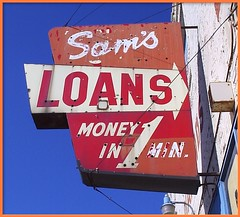 Sign: Sam's Loans--Detroit MI (pinehurst19475) Tags: city red urban sign michigan detroit business michiganavenue oldsign redandwhite vintagesign pawnbroker puredetroit detroitsign samsloans moneyin1minute moneyinaminute