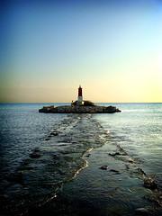 walking on water (LG.) Tags: light sea lighthouse luz water faro puerto mar agua camino path
