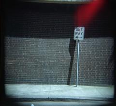 One Way (Heywood Industries) Tags: colour holga pavement bricks sydney kodakportra400vc australia ishootfilm lightleaks newsouthwales oneway chippendale footpath vignette worldtoycameraday tcd2008 heywoodindustries wtcd2008