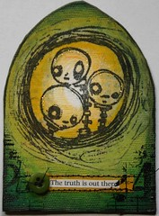 ATC The truth is out there Not Available (thekathrynwheel) Tags: art atc artisttradingcard collage mixedmedia alien acrylicpaint gothicarch claudinehellmuth stampotique