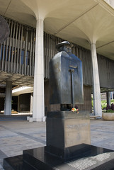 Father Damien Statue in Honolulu in front of Hawaii State Capitol Building