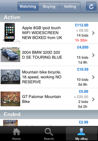 eBay mobile watchlist