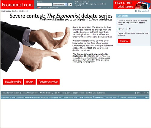 "Economist Debate Series - Splash Page • <a style=""font-size:0.8em;"" href=""http://www.flickr.com/photos/69146816@N00/3022731562/"" target=""_blank"">View on Flickr</a>"
