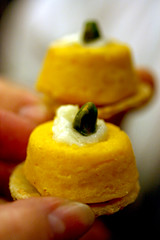 Pumpkin souffle with marscapone cheese and pistachio