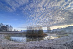to go over the edge! (gregor H) Tags: winter nature clouds landscape pond frost mood patterns bluewater liechtenstein moor cloudysky calmwater coldmorning ruggell ruggellerriet