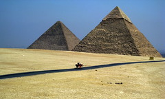 Pyramids of Giza / Lower Egypt () Tags: africa road vacation two holiday art cemetery grave graveyard architecture design sand ancient ruins flickr king desert pyramid northafrica tomb egypt graves mausoleum pharaoh limestone pyramids goldenage publicart ramadan rtw giza gypten egitto necropolis vacanze egypte pirmides roundtheworld gizeh ancientegypt afrique khufu cheops  khafre chephren antiquities globetrotter greathouse saharadesert northernafrica  pyramidsofgiza worldtraveler nekropolis gizanecropolis aljizah loweregypt khafra khafrespyramid 4thdynasty khufuspyramid     ivdynasty  suphis rachaf 4 desertumafricanum