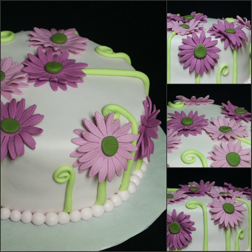 Fuchsia Gerbera Daisy Cake