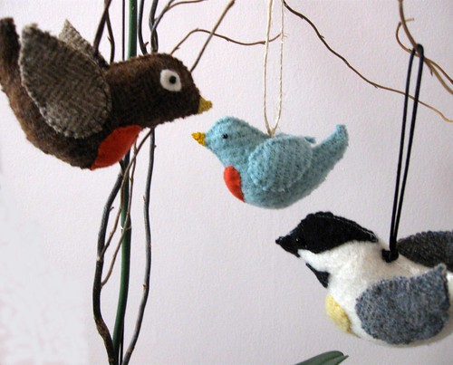 Bird Friend Ornaments by leafpeople.