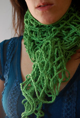 green crochet mesh scarf for etsy