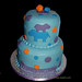 blue purple and orange hippo baby shower cake