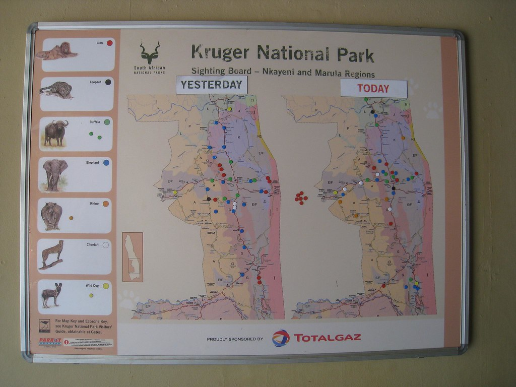 Maps at park stations show where the Big 5 were recently sighted.