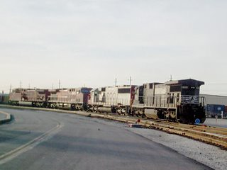 Locomotives idling on the ready tracks at the Belt Railway of Chicagho Clearing Yard. Bedford Park Illinois. March 2007.