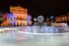 Opera on Ice II (Philipp Klinger Photography) Tags: christmas xmas pink blue winter light red house holiday color colour reflection art ice water glass architecture night photoshop reflections germany season stars deutschland star nikon opera colorful europa europe long exposure hessen purple shot frankfurt illumination skate colourful burst philipp spiegelung dri hdr reflektion hesse lucisart lucis cs4 klinger tamron1735mm lightstar d700 dcdead vanagram