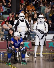 The Empire's Penalty Box (St Paul Paul) Tags: minnesota sport starwars athletics women minneapolis rollerderby stormtrooper twincities pivot athlete mcc jammer rollerskate blocker flattrack penaltybox quadskates wftda minneapolisconventioncenter nsrg northstarrollergirls