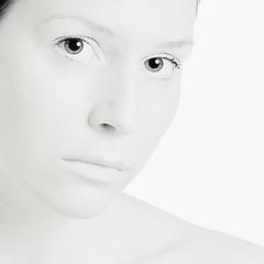 125 of 365 - I am. (elsvo) Tags: portrait blackandwhite woman selfportrait me girl monochrome self square highkey iam 365 squarephoto fgr 365days flickrgrouproulette elsvo