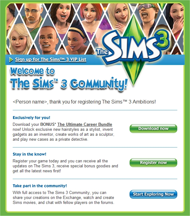 The Sims 3 Ambitions free DLC -