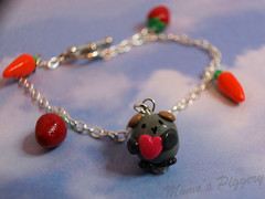 BooBoo - guinea pig charm bracelet (momospiggery) Tags: pink blue pet cute love glass fun cord guinea pig cavies cavy momo crystal handmade small gray decoration craft mini jewelry charm gifts cotton clay bracelet present bead hanging lynx pendant frosted accessory lanyard polymer piggery cutemomome momos