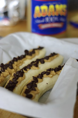 Peanut Butter and Chocolate Stuffed Baked Bananas