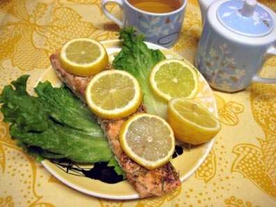 Lemon, Rosemary, Miso Salmon with Jasmine tea