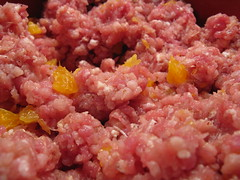ground pork & tangerines mixed