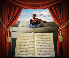 Share My World... (darth_bayne) Tags: blue light red music mountains grass clouds 350d surreal bluesky pillows couch jeans violin sheetmusic neverland gaze tassels paintinglike redcurtains justimagine superbmasterpiece clevercreativecaptures