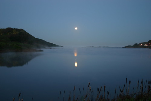 Moon over Marin Headlands Lagoon