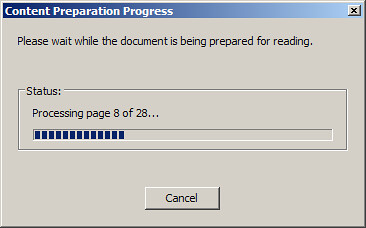 Content Preparation Progress Dialog