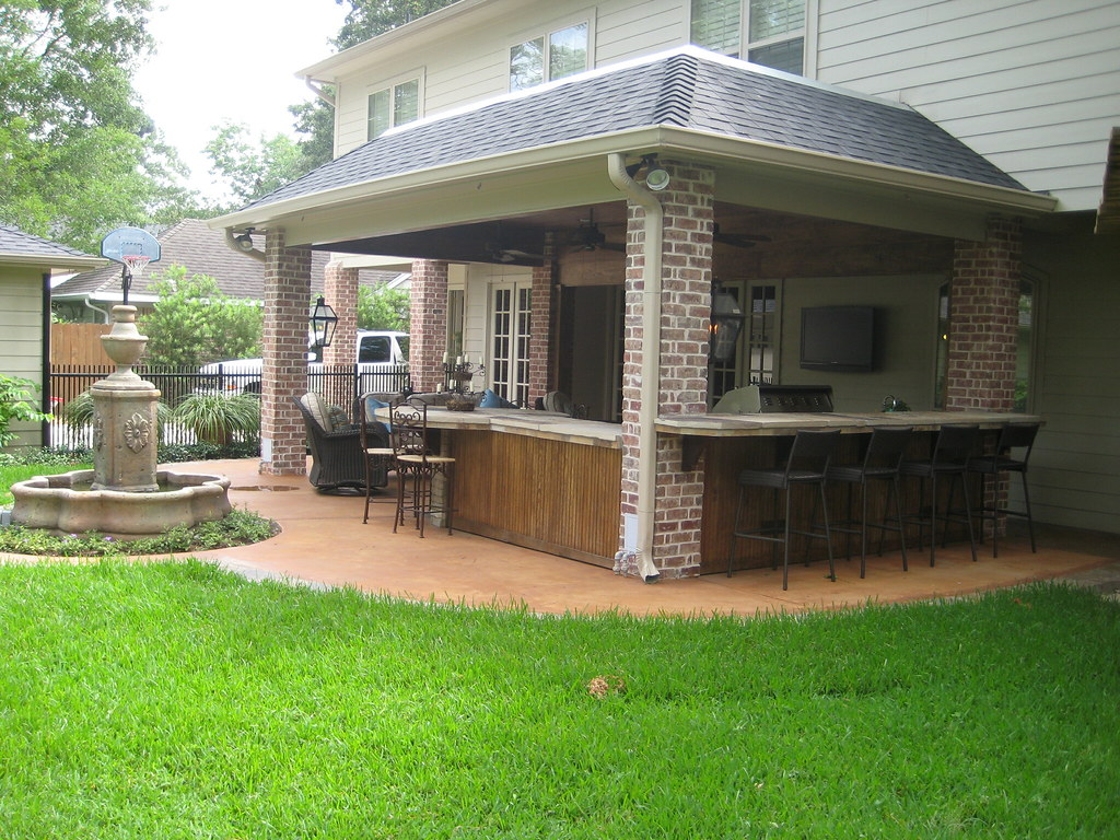 Roof stained concrete kitchen fountain
