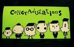 Congradulations! (畢奇.Pucky) Tags: pets cute green art strange hat animals illustration icons university cut graduation craft card characters masters creatures outs congradulations