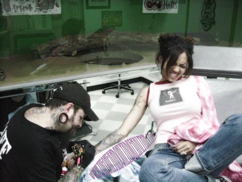 Adrenalynn not liking getting tattooed