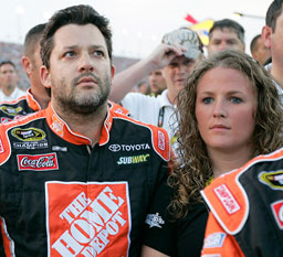 NASCAR driver Tony Stewart and Chrissy Wallace